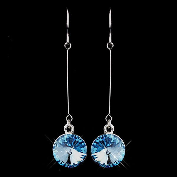 Elegant Silver Aqua Crystal Drop Earrings 25729