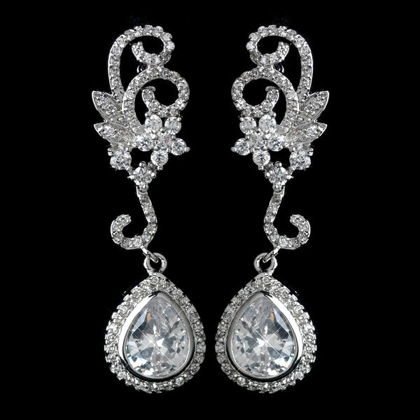 Antique Rhodium Silver Swirl Flower & Teardrop Encrusted Pave CZ Crystal Earrings 2899