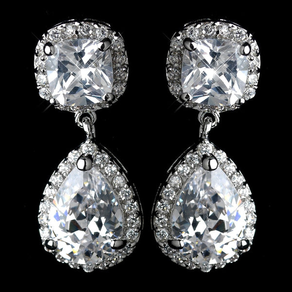 Antique Rhodium Silver Cushnet & Teardrop Pave Encrusted CZ Crystal Drop Earrings 2900
