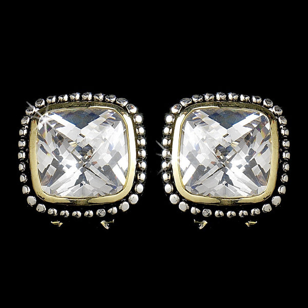 Designer Inspired Rhodium Silver with Gold Accent Clear Cubic Zirconia Earring 2956