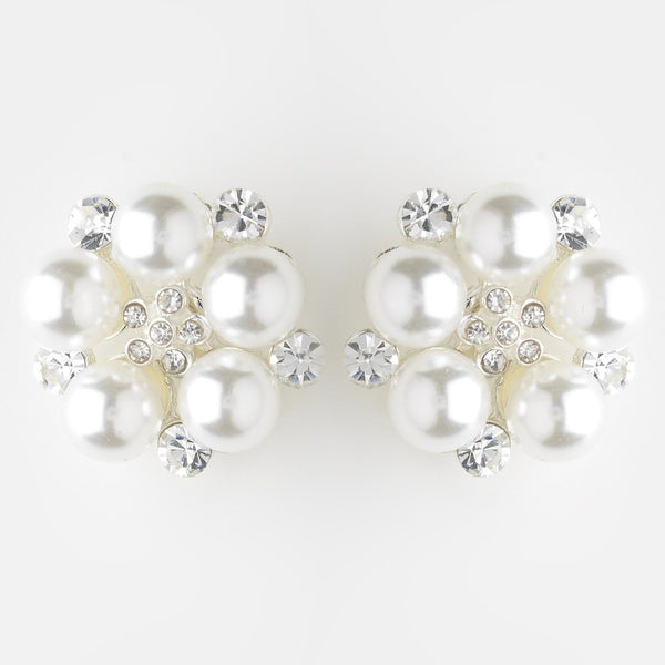 Silver White Pearl and Oval Clear Bridal Rhinestone Earrings 30007