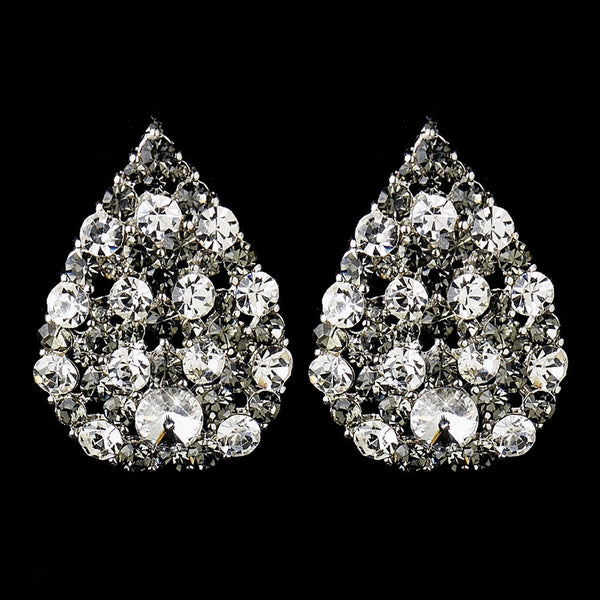 Silver Smoked & Clear or Silver Black & ClearTear Drop Rhinestone Bridal Stud Earrings 30013