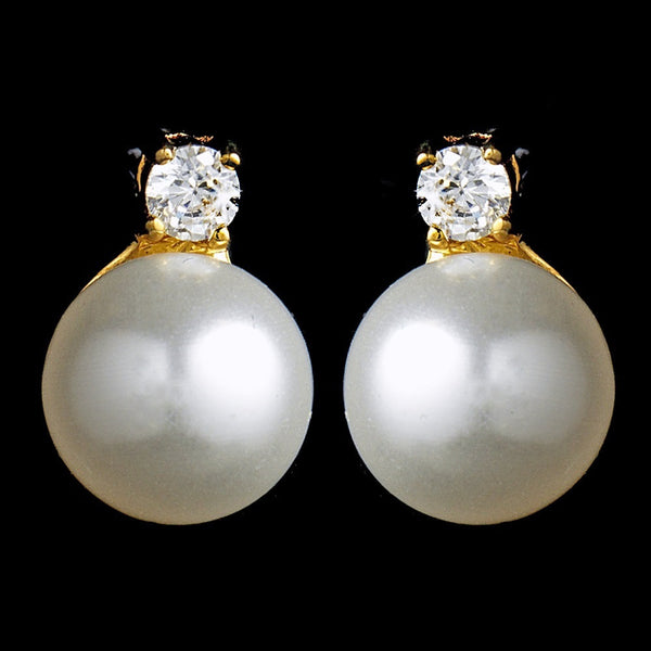 Chic Gold Clear CZ & Ivory Pearl Earrings 3615