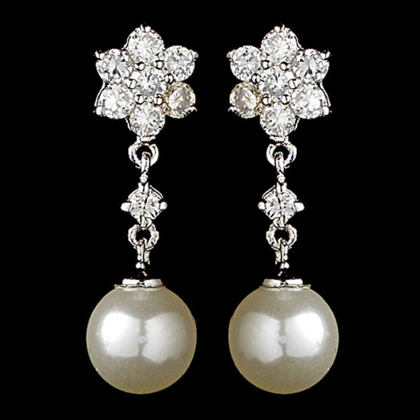 Delightful Silver Clear CZ Flower Earrings w/ Pearl Drop 3631