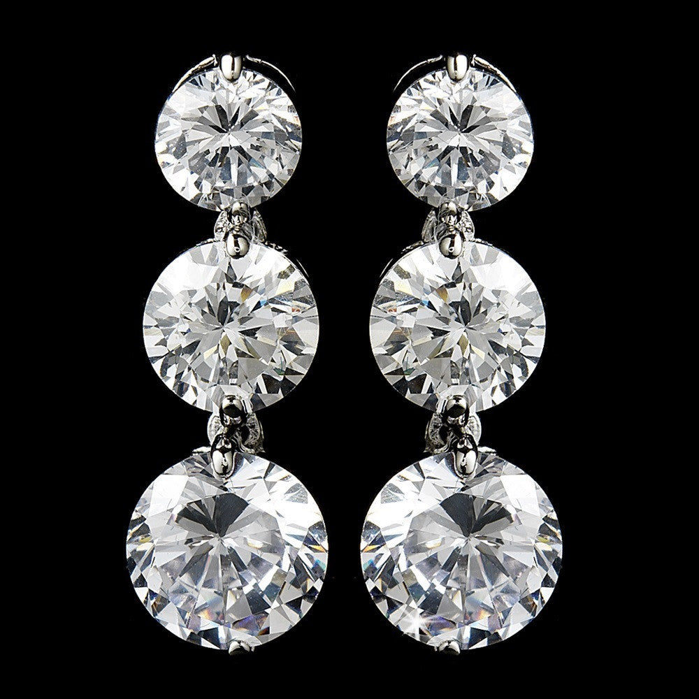 3 Drop Silver Clear Cubic Zirconia Earrings E 3713