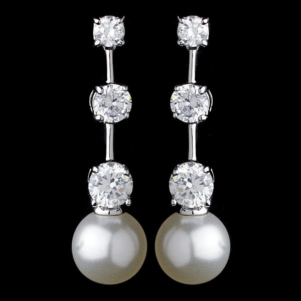 Charming Silver Clear CZ Bridal Earrings w/ Pearl Drop 3956