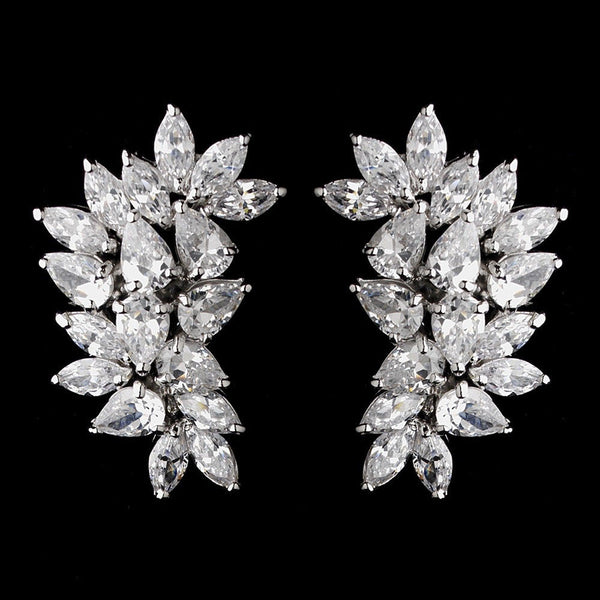 Antique Silver Clear CZ Clip On Earring 3983