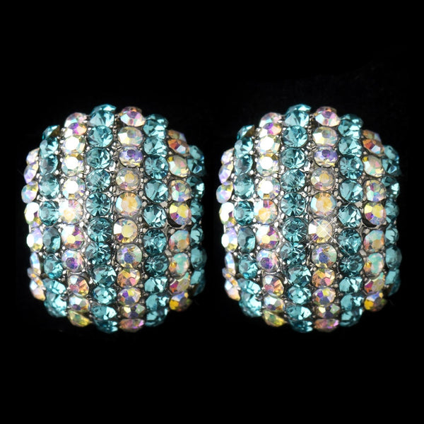 Antique Silver Aqua & AB Rhinestone Encrusted Stud Earrings 40693