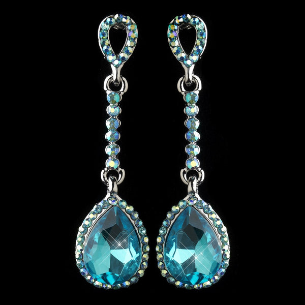 Antique Silver Aqua Rhinestone Teardrop Dangle Earrings 40694