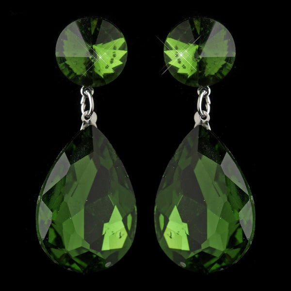Antique Silver with Large Emerald Rhinestone Teardrop Earrings 40698
