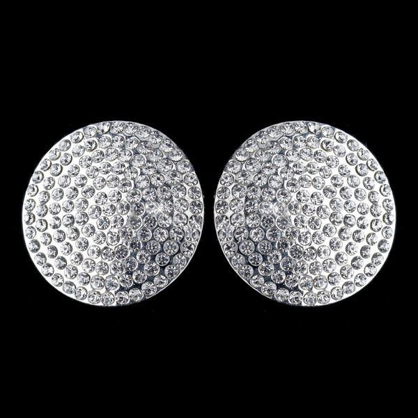 Silver Clear Pave Rhinestone Encrusted Clip On Earrings 4104