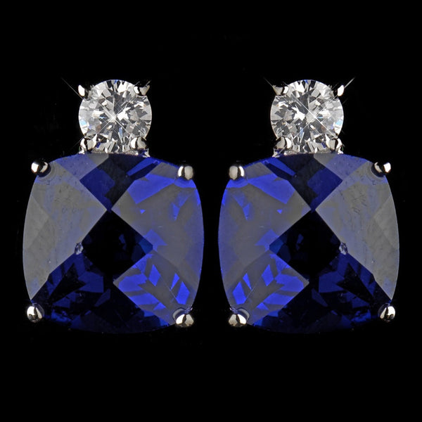 Antique Silver Rhodium Sapphire CZ Crystal Stud Earrings 4782