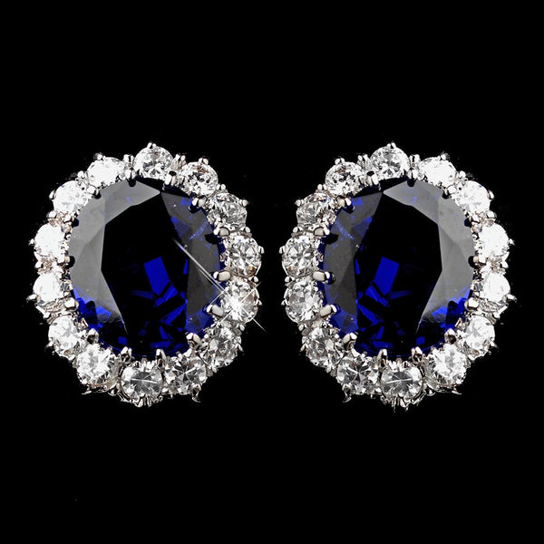 Silver Sapphire Kate Middleton Inspired Earrings 5015