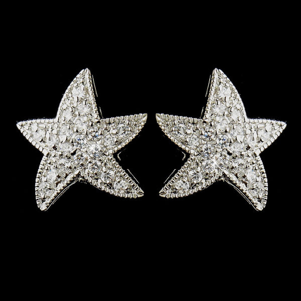 Antique Silver Clear CZ Crystal Starfish Stud Bridal Earrings 5336