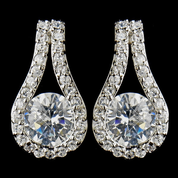 Antique Silver Clear Cubic Zirconia Bridal Drop Earrings 5966