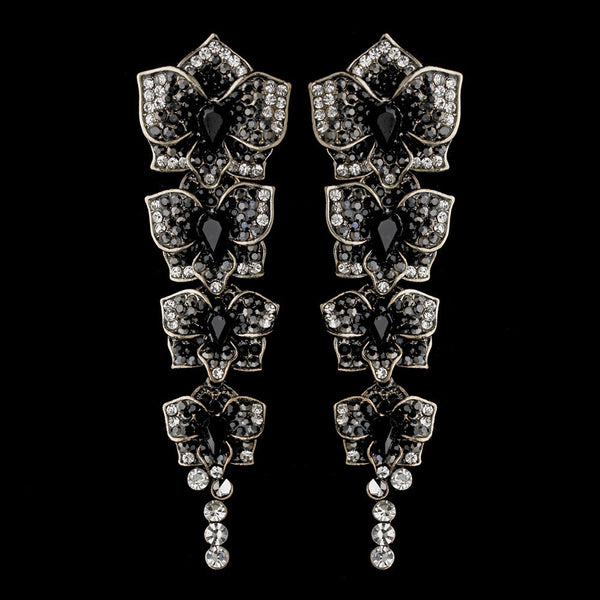 Antique Silver Black Earring Set 6513