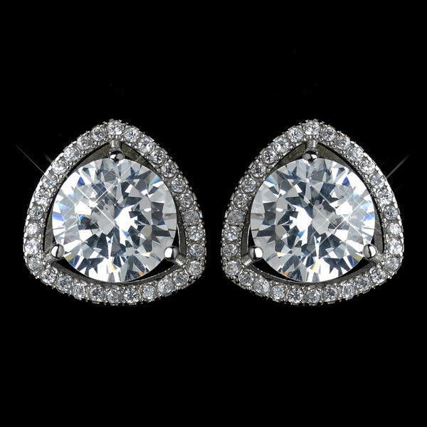 Antique Rhodium Silver Clear Solitaire Pave Encrusted Stud Earrings 7405