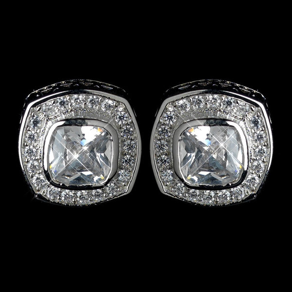Antique Rhodium Silver Clear CZ Crystal Cut Stud Earrings 7410