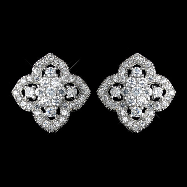 Antique Rhodium Silver Clear Vintage Encrusted Stud Earrings 7411