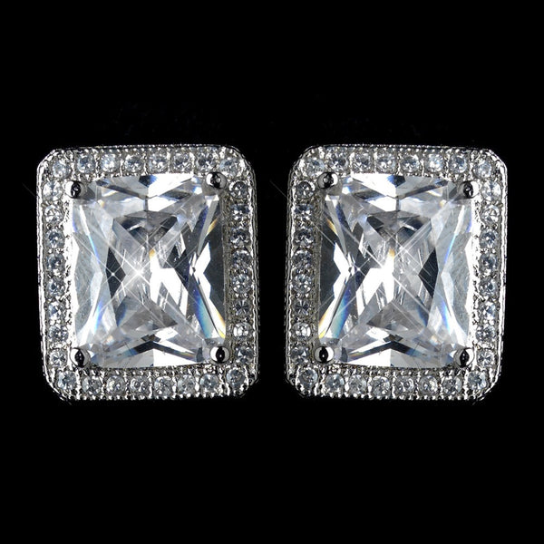 Antique Rhodium Silver Clear CZ Halo Radiant Stud Earrings 7413
