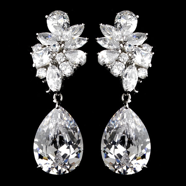 Antique Silver Clear Cubic Zirconia Earrings 7510
