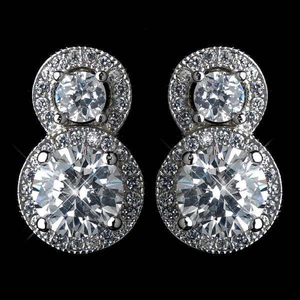 Antique Rhodium Silver Clear Double Solitaire Encrusted Stud Earrings 7735