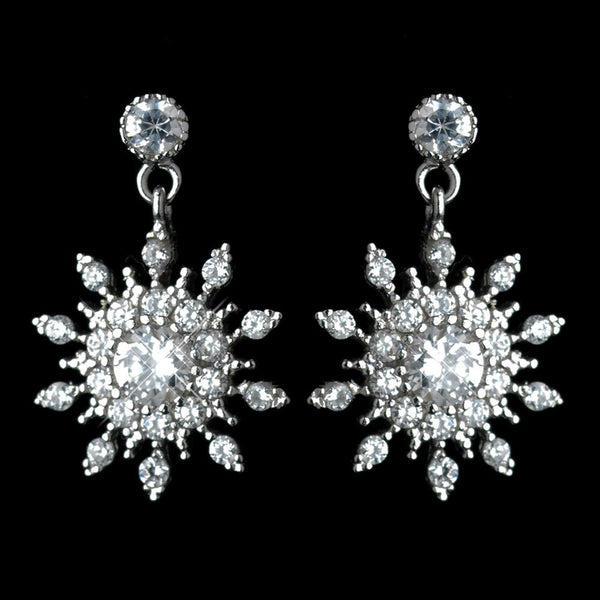 Antique Rhodium Silver Clear Petite Snowflake CZ Crystal Drop Earrings 7737