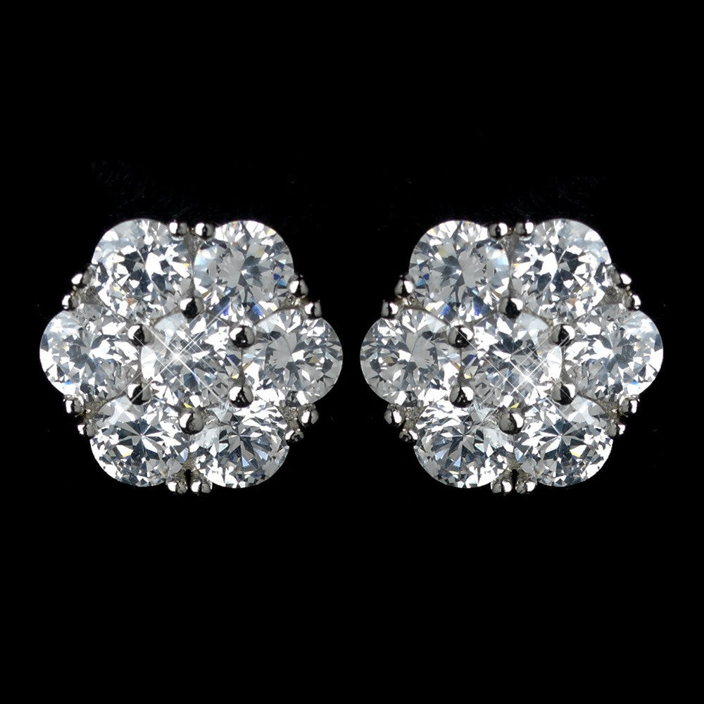 Antique Rhodium Silver Clear CZ Crystal Cluster Flower Earrings 7742