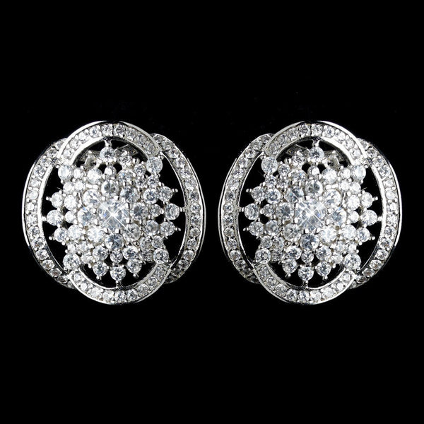 Antique Rhodium Silver Clear Vintage Great Gatsby Inspired Earrings 7743