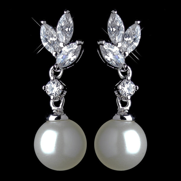 Antique Rhodium Silver Petite Marquise CZ Crystal With Pearl Drop Earrings 7755