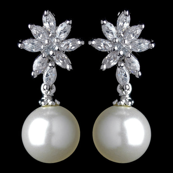 Antique Rhodium Silver Diamond White & CZ Crystal Pearl Drop Earrings 7756