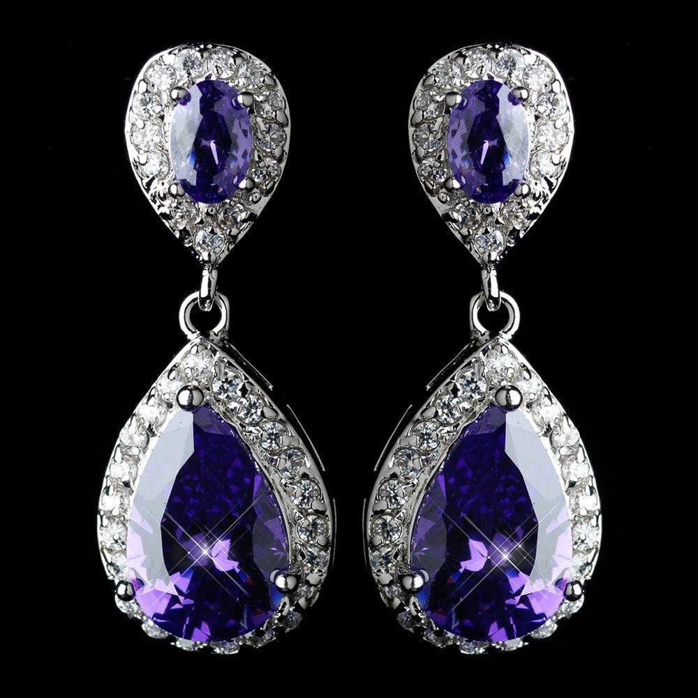 Antique Rhodium Silver Amethyst Tear Drop Encrusted CZ Crystal Earrings 7761