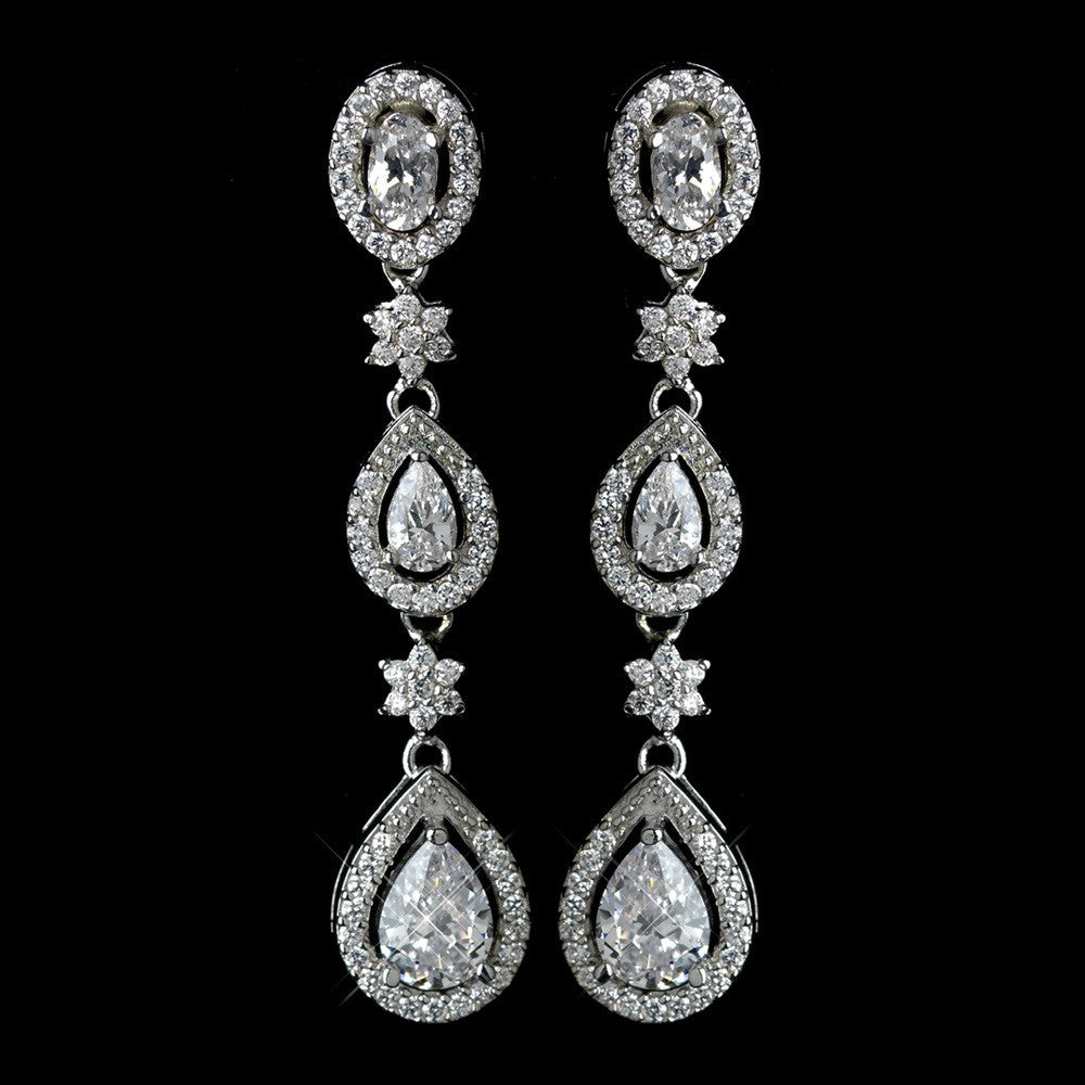 Antique Rhodium Silver Clear Teardrop & Oval Pave Encrusted CZ Crystal Dangle Earrings 7763