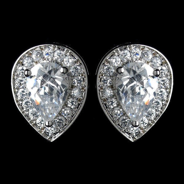 Antique Rhodium Silver Clear Teardrop Encrusted Pave Stud Earrings 7766