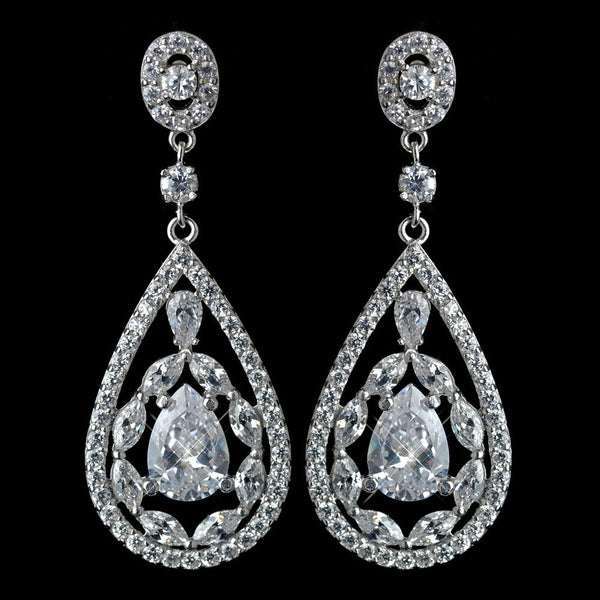 Antique Rhodium Silver Clear CZ Crystal Teardrop Earrings 7769