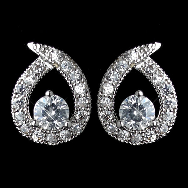 Antique Rhodium Silver Clear Loop Of Love Petite CZ Crystal Stud Earrings 7772