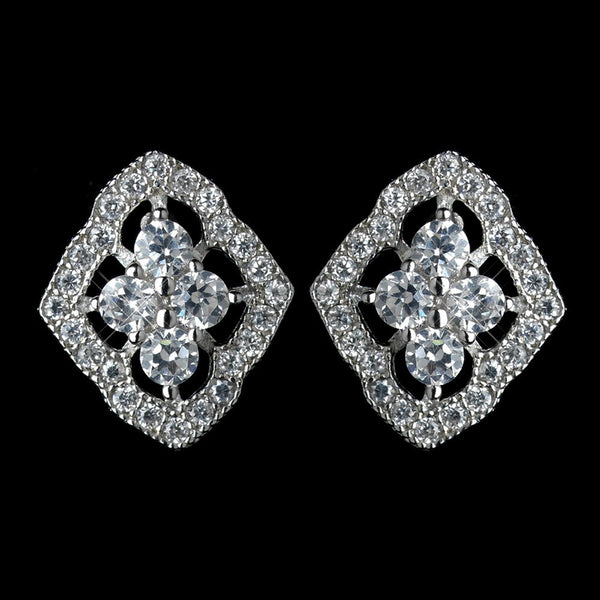 Antique Rhodium Silver Clear Vintage CZ Crystal Stud Earrings 7773
