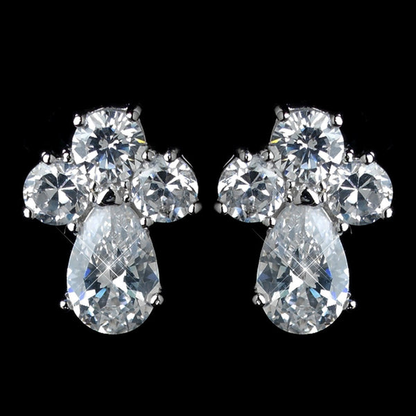Antique Rhodium Silver Clear Cluster Petite CZ Crystal Stud Children