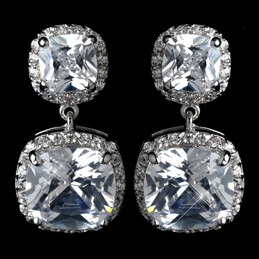 Antique Rhodium Silver Clear CZ Crystal Pave Encrusted Drop Earrings 7779
