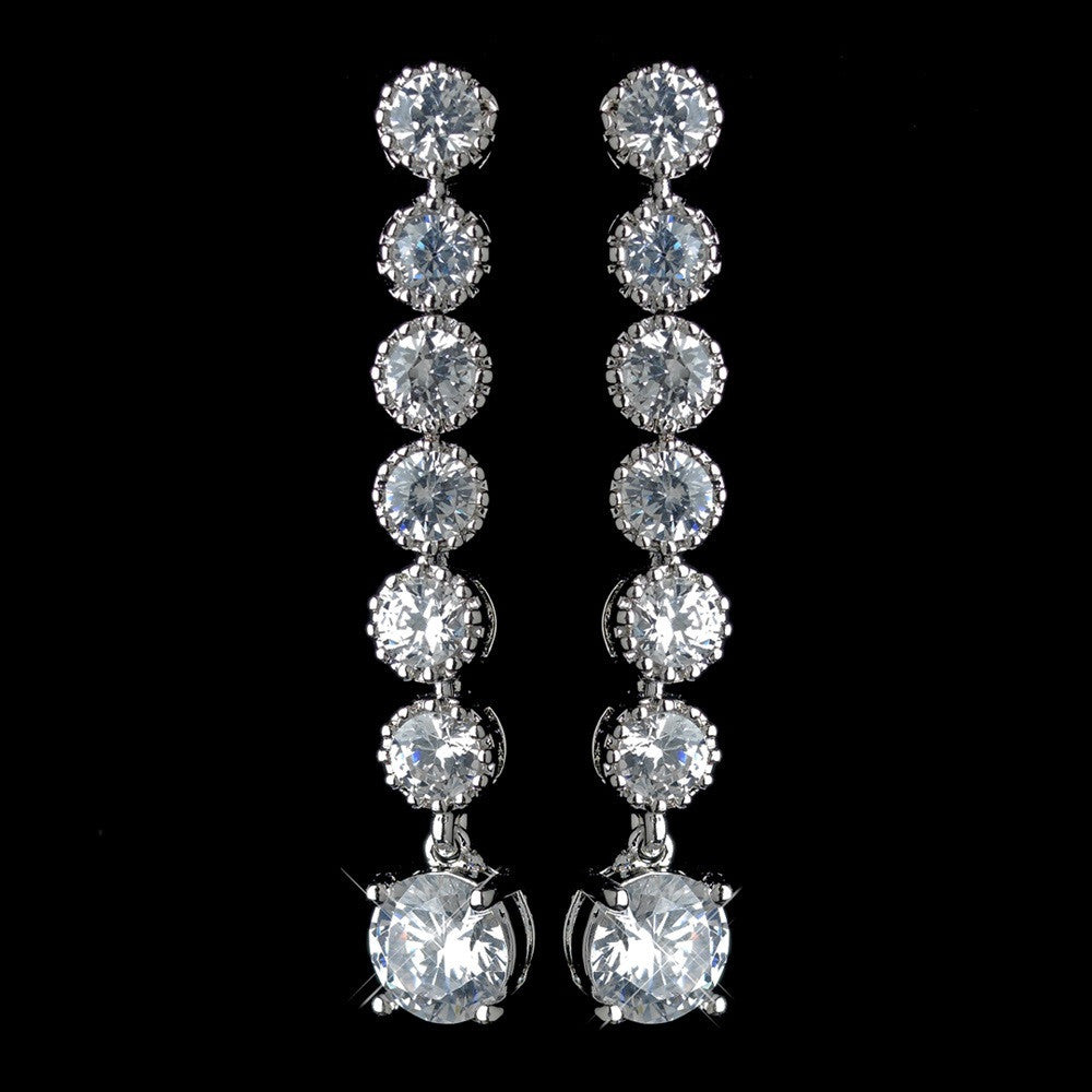 Antique Rhodium Silver Clear 7 CZ Crystal Solitaire Drop Dangle Earrings 7790