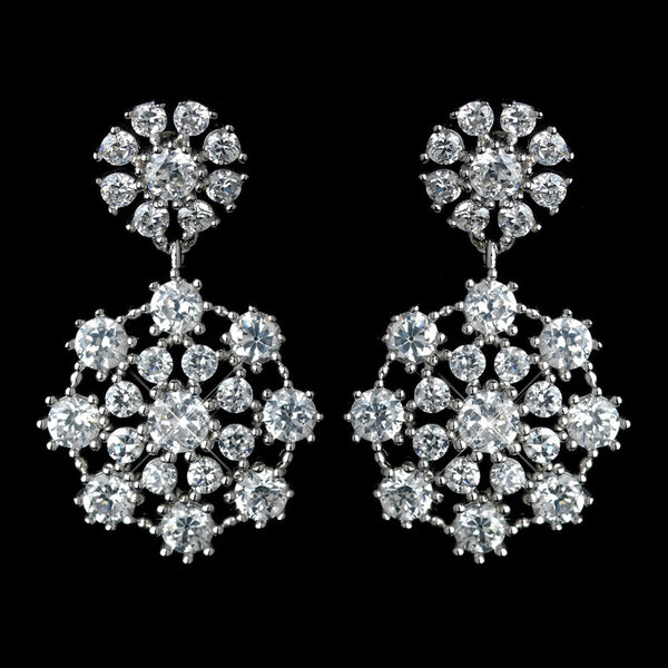 Antique Rhodium Silver Clear Cluster Drop CZ Crystal Earrings 7792