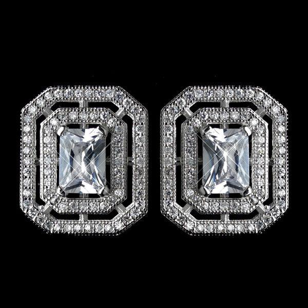 Antique Rhodium Silver Clear CZ Crystal Micro Pave Radiant Cut Vintage Stud Earrings 7794