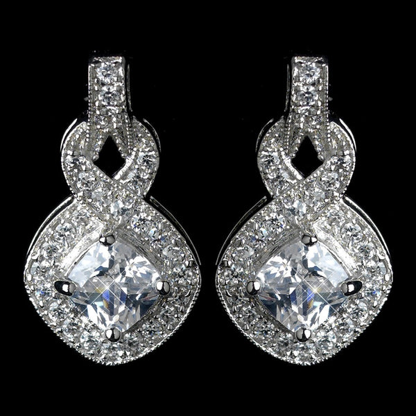 Antique Rhodium Silver Clear CZ Crystal Eternity Infinity Earrings 7799