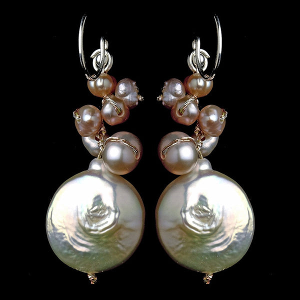 Delightful Peach Freshwater Coin Pearl Earrings 7833