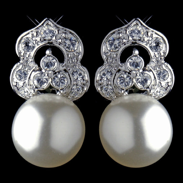 Antique Rhodium Silver Clear CZ & Diamond White Pearl Earrings 7860