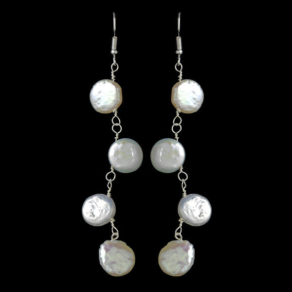 Four Drop Luster Coin Pearl Earrings E 8138