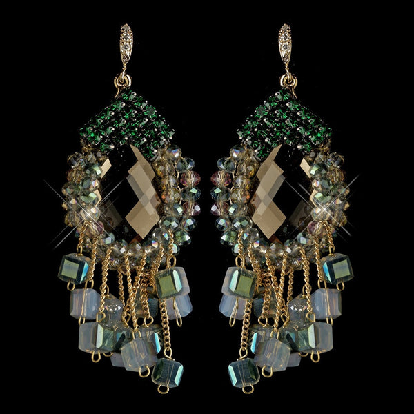 Gold Green Beaded & Rhinestone Hand Made Chandelier Earrings 82039
