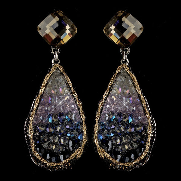 Rhodium Blue Light Amethyst Gold Smoke Crystal & Beaded Hand Made Drop Earrings 82040