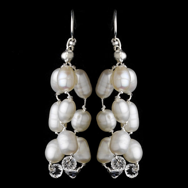 Freshwater Pearl & Swarovski Crystal Chandelier Earrings E 8250