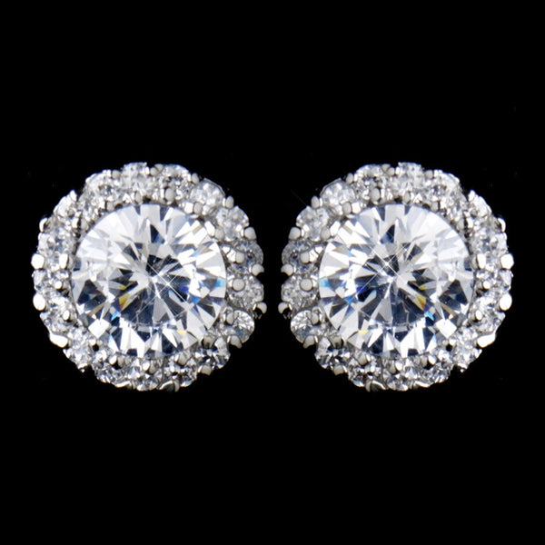 Antique Silver Pave CZ Solitaire Crystal Stud Earrings 8575